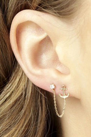 Open image in slideshow, 9ct Gold Crystal & Anchor Chain Linked Double Earring - ZuZu Jewellery