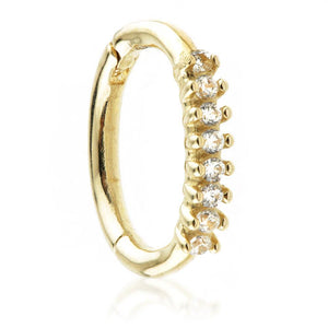 Open image in slideshow, 9ct Gold Hinge Rook Ring with CZ Gems