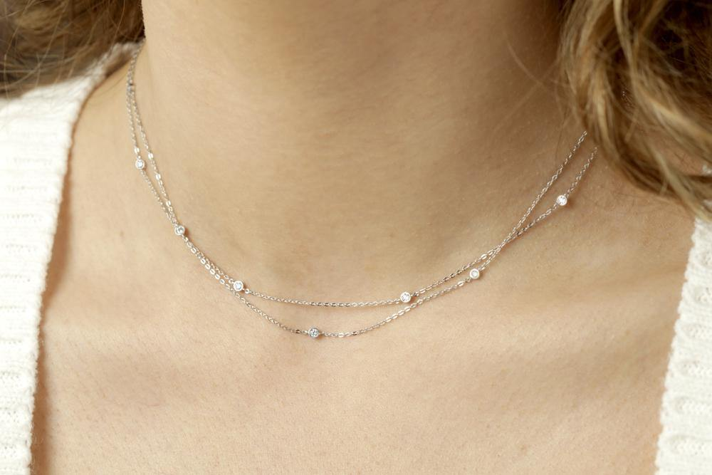 9ct White Gold Double Chain Crystal Choker Necklace