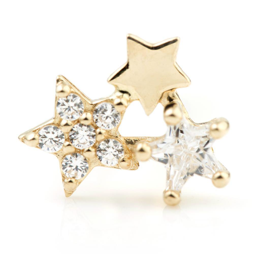 9ct Gold Cluster Star Cartilage Bar