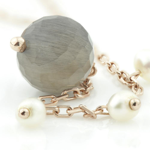 Black Labradorite & Pearl on Rose Gold Vermeil