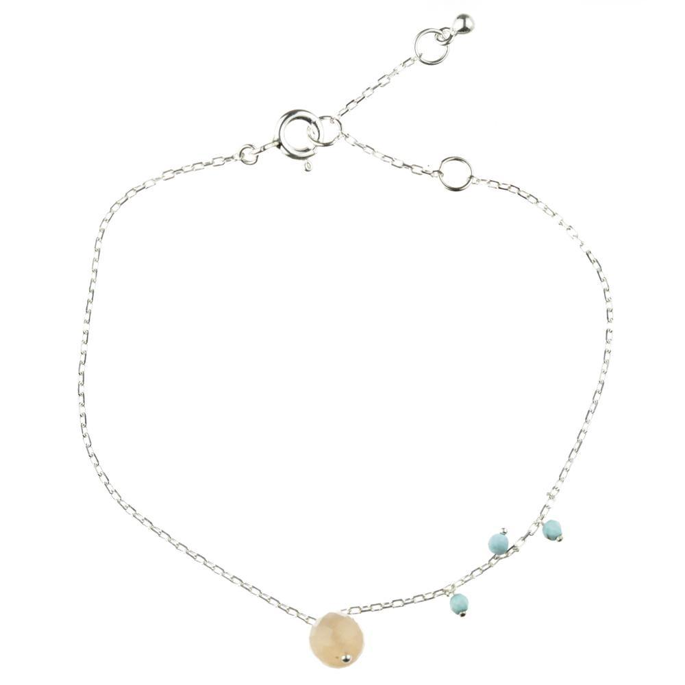 Maia Peach Moonstone and Turquoise Silver Bracelet