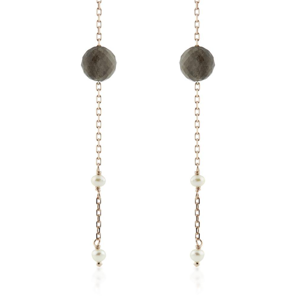 Maia Rose Gold Vermeil Black Labradorite & Pearl Threader Earrings