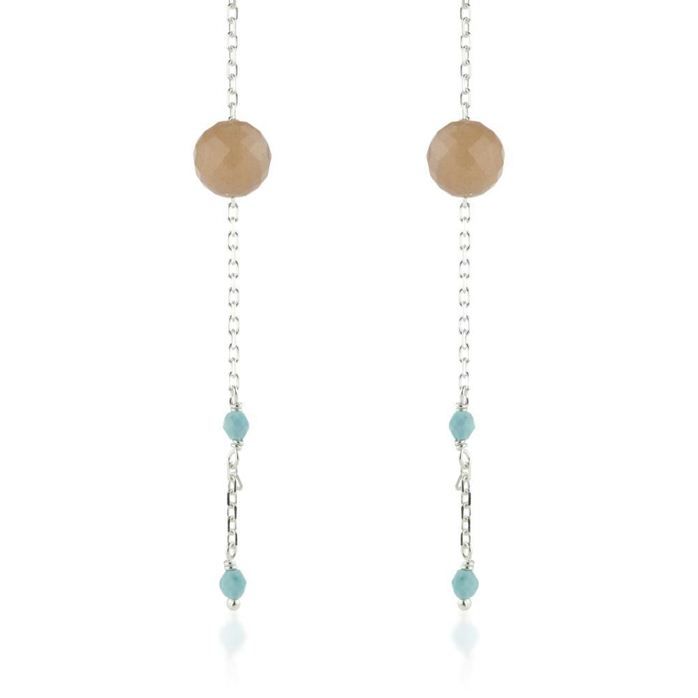 Maia Silver Peach Moonstone & Turquoise Threader Earrings