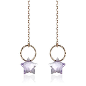 Astria Rose Gold Vermeil Amethyst Star Threader Earrings