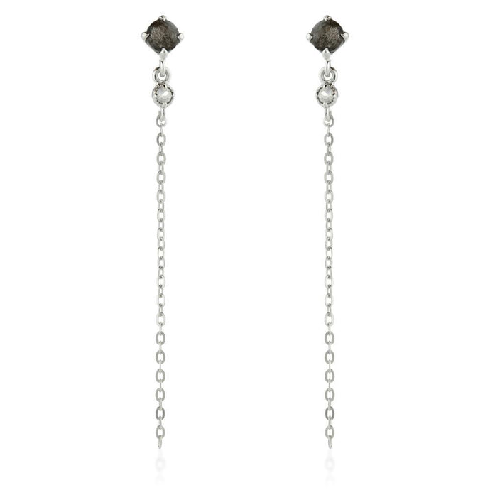 Leto Sterling Silver Gem Stud Earring with Chain - Black Labradorite & Rainbow Moonstone