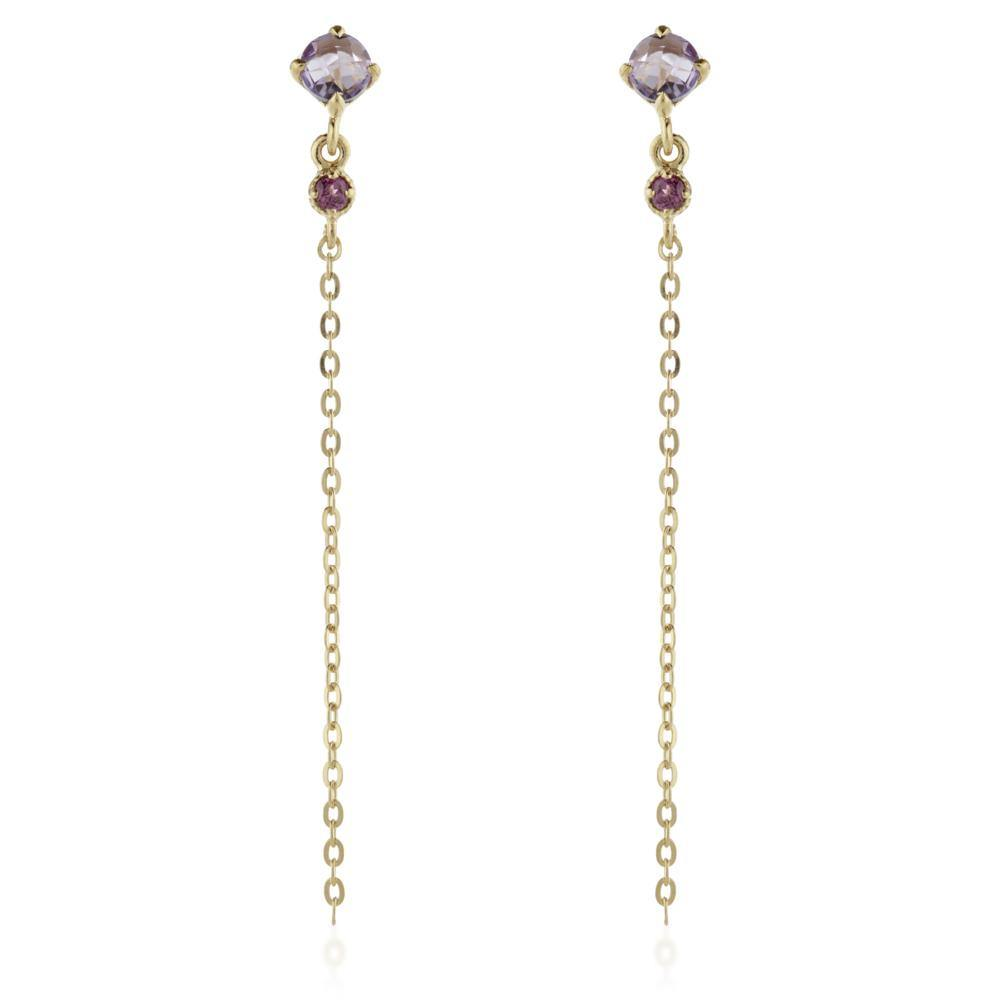 Leto Gold Vermeil Gem Stud Earrings with Chain - Amethyst & Garnet