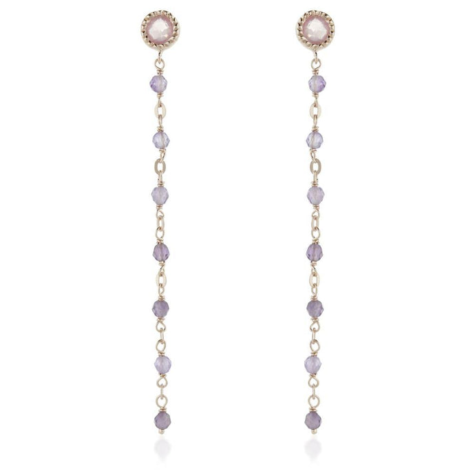 Aphrodite Rose Gold Gem Stud Earring with Chain - Rose Quartz & Amethyst