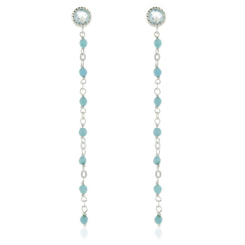 Aphrodite Sterling Silver Gem Stud Earring with Chain - Blue Topaz & Turquoise