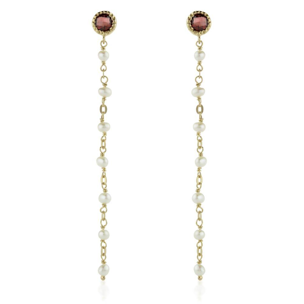 Aphrodite Gold Vermeil Gem Stud Earring with Chain - Garnet & Pearl