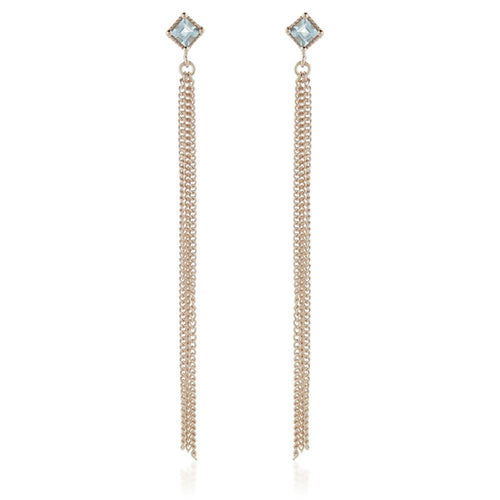 Ceto Rose Gold Gem Stud Earring with Chain - Blue Topaz