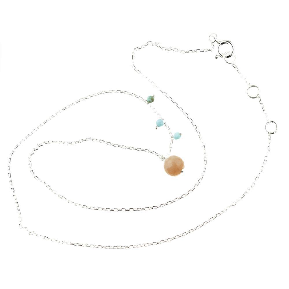 925 Silver Choker with Peach Moonstone & Turquoise