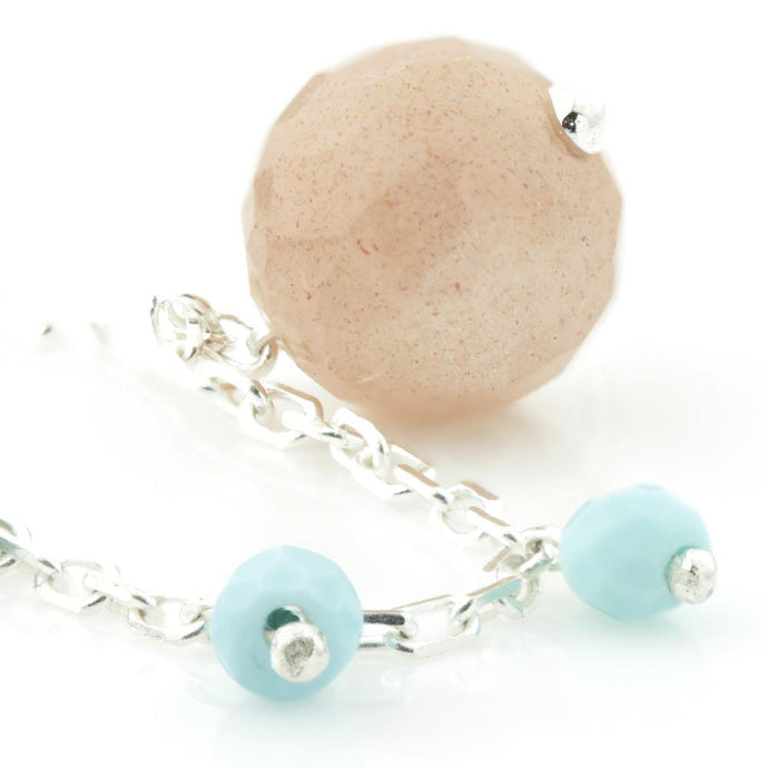 Peach Moonstone & Turquoise beads on 925 Silver