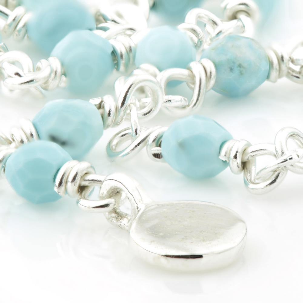 Small Turquoise Beads on a Sterling Silver Chain