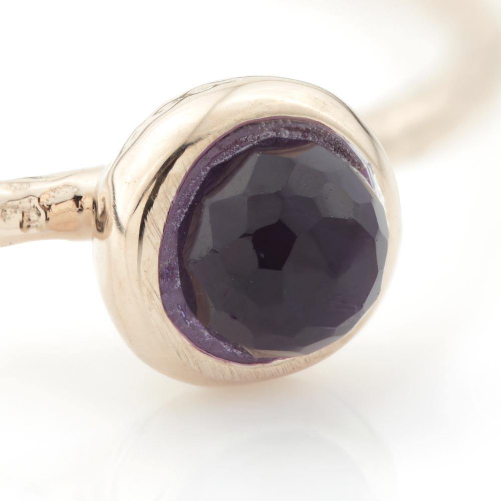 Amethyst Round Stacking Ring in Rose Gold