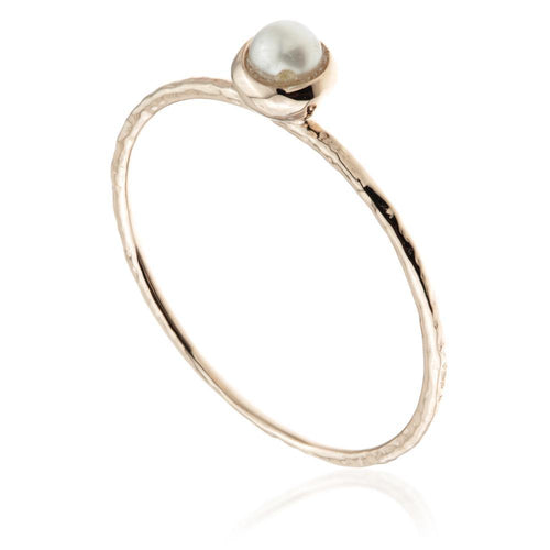 Round Pearl Rose Gold Stacking Ring