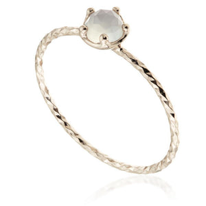 Leto Chalcedony Rose Gold Stacking Ring