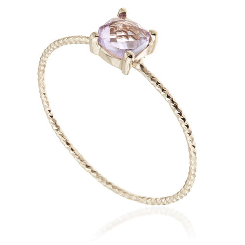 Ceto Amethyst Rose Gold Stacking Ring