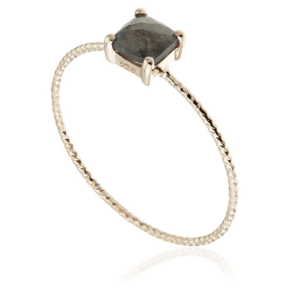 Ceto Black Labradorite Rose Gold Stacking Ring