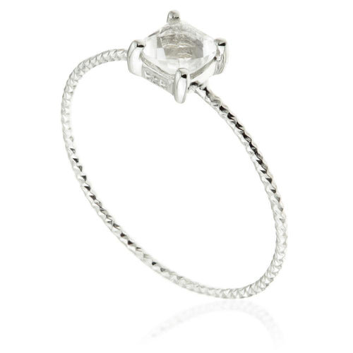 Ceto Quartz Crystal Silver Stacking Ring