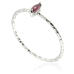 Garnet Marquise Silver Stacking Ring