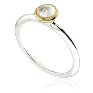Silver and Gold Round Crystal Stacking Ring