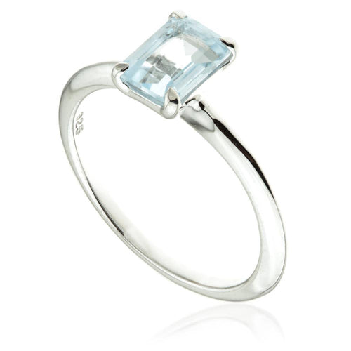 Blue Topaz Rectangle Ring in Silver