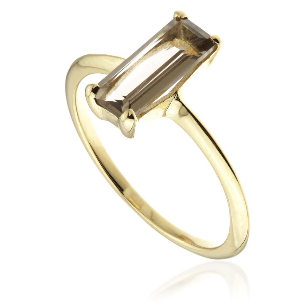 Smokey Quartz Gold Vermeil Rectangle Ring