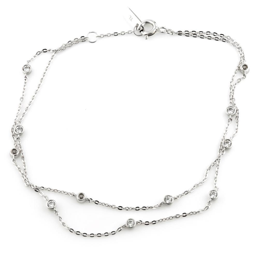 9ct White Gold Dainty Crystal Double Chain Bracelet