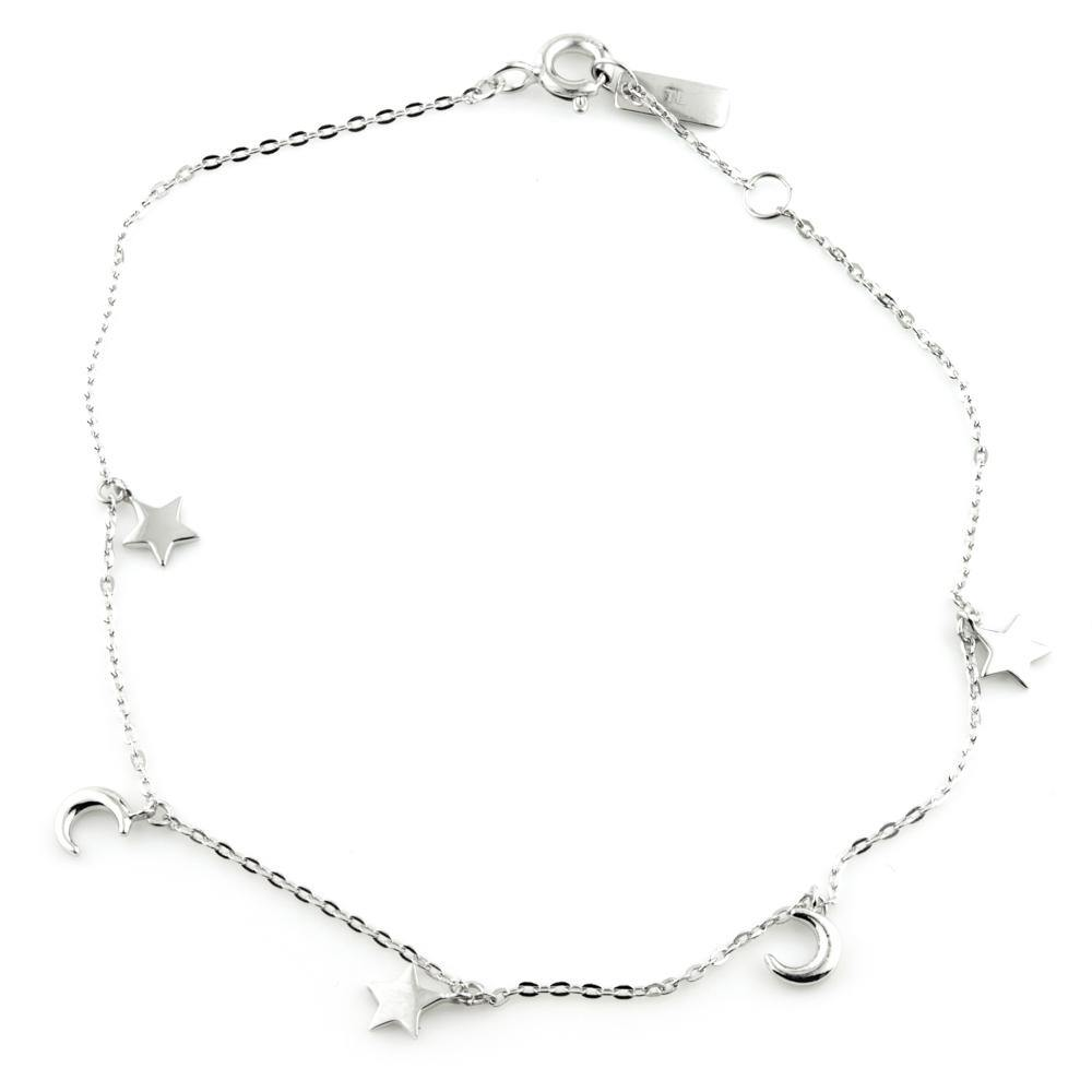 9ct White Gold Dainty Moon & Star Charm Bracelet