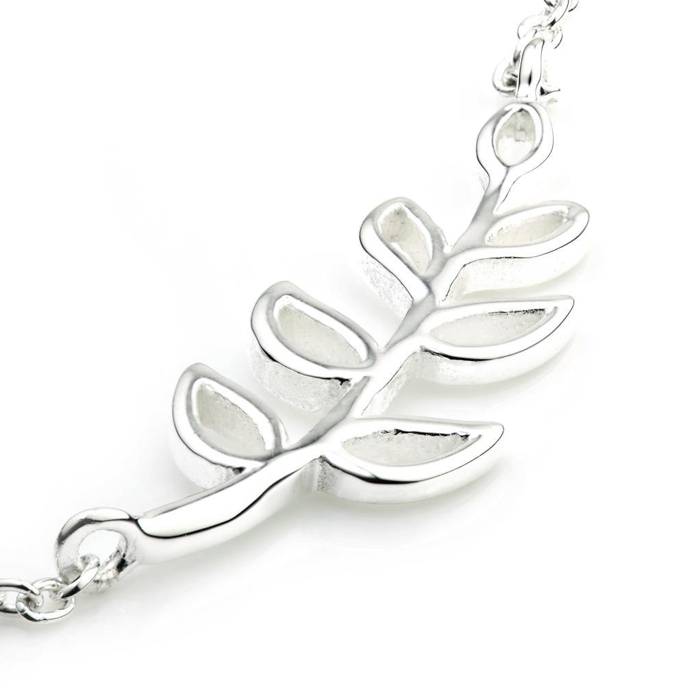 Sterling Silver Bracelet With Olive Leaf