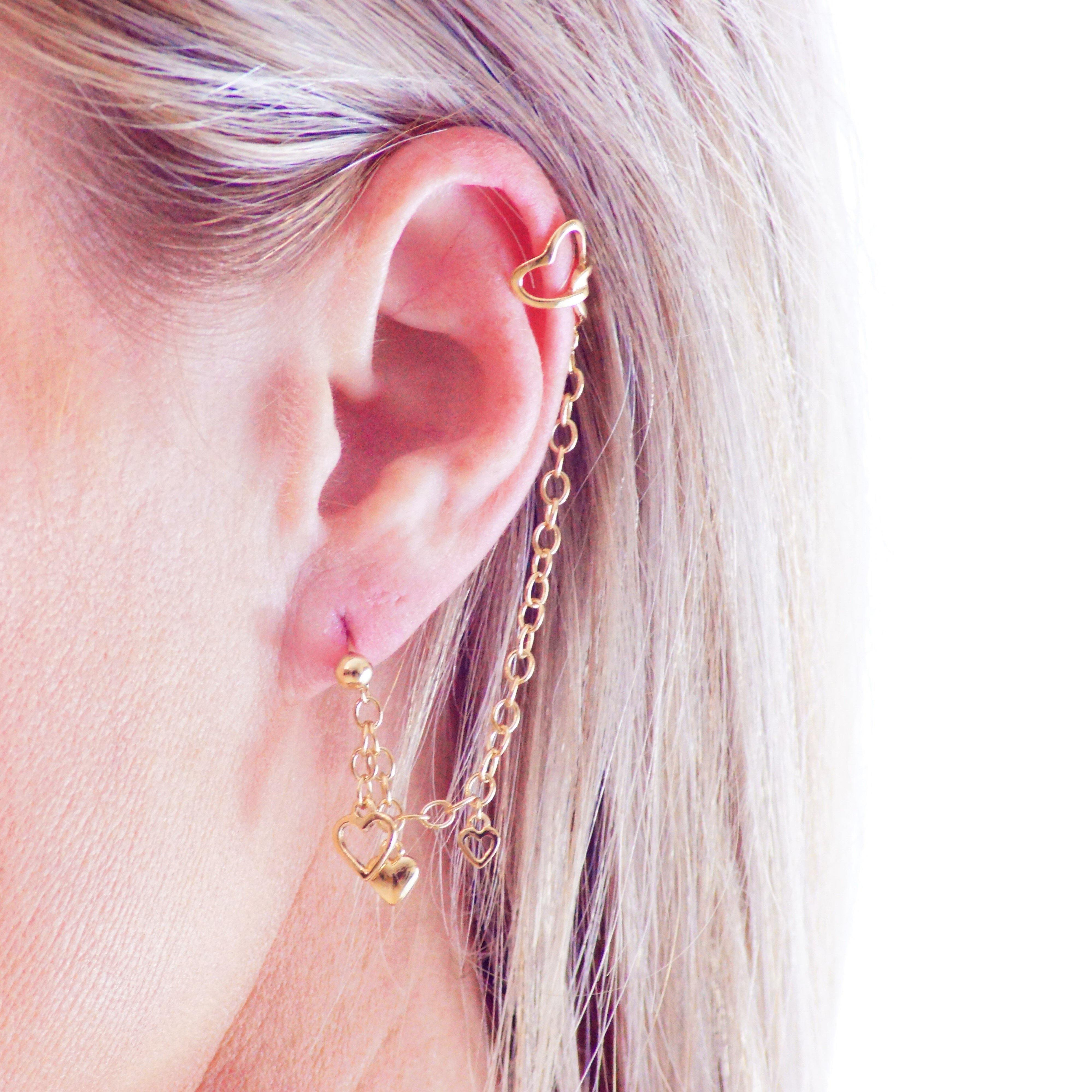 Gold Vermeil Ball Stud Heart Chain Ear Cuff