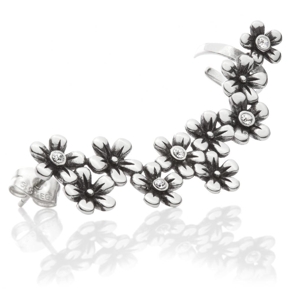 Steel Daisy Chain Ear Cuff with Stud