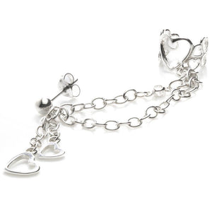 Sterling Silver Ball Stud Hanging Hearts Chain Ear Cuff