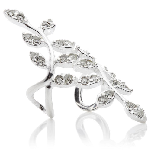 Sterling Silver Twisted Jewel Ash Leaf Ear Cuff