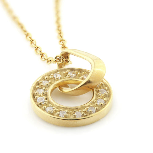 Gold Steel Halo Pendant with CZ Crystals