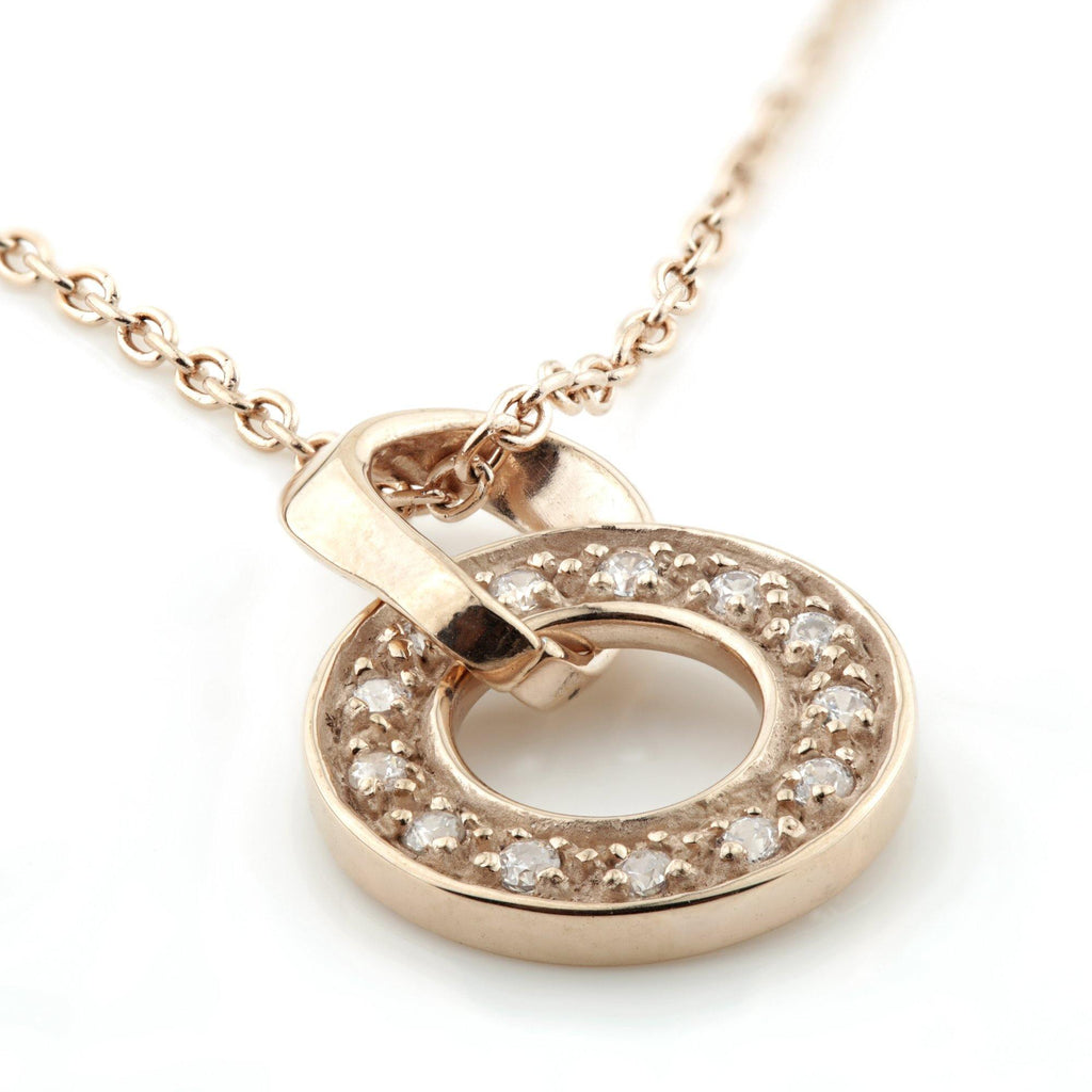 Rose Gold Long CZ Halo Pendant Necklace