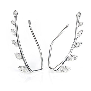 Sterling Silver Crystal Leaf Ear Climber