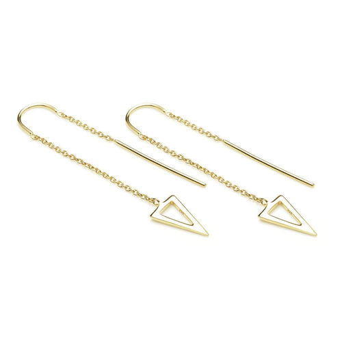 Gold Vermeil Triangle Threader Earrings