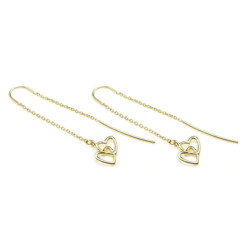 Gold Vermeil Linked Hearts Threader Earrings