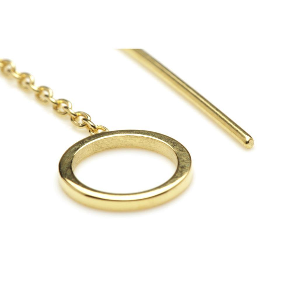 Gold Vermeil Circle Threader Earrings