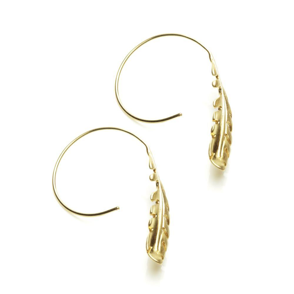 Gold Feather Pull Through Earrings