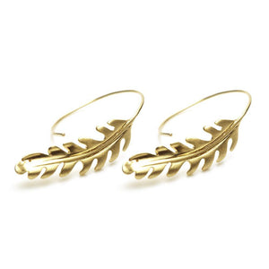 Gold Vermeil Feather Pull Through Earrings