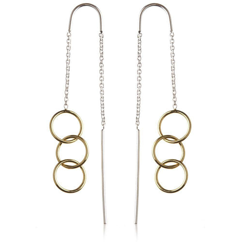 Silver Threader Earrings with Gold Vermeil Linked Circles