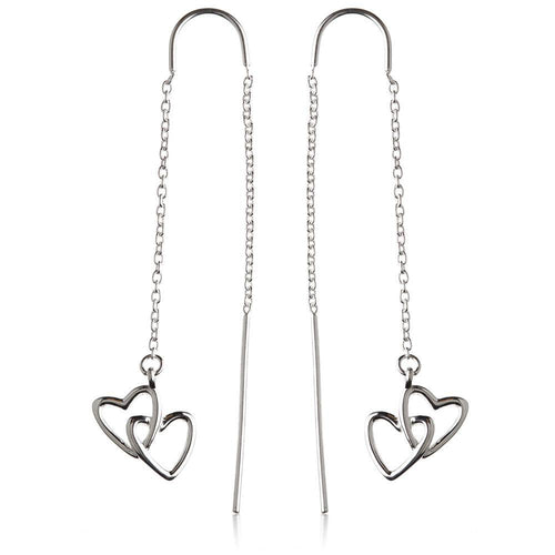Sterling Silver Linked Hearts Threader Earrings