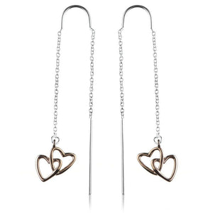 Sterling Silver Threader Earrings with Rose Gold Hearts