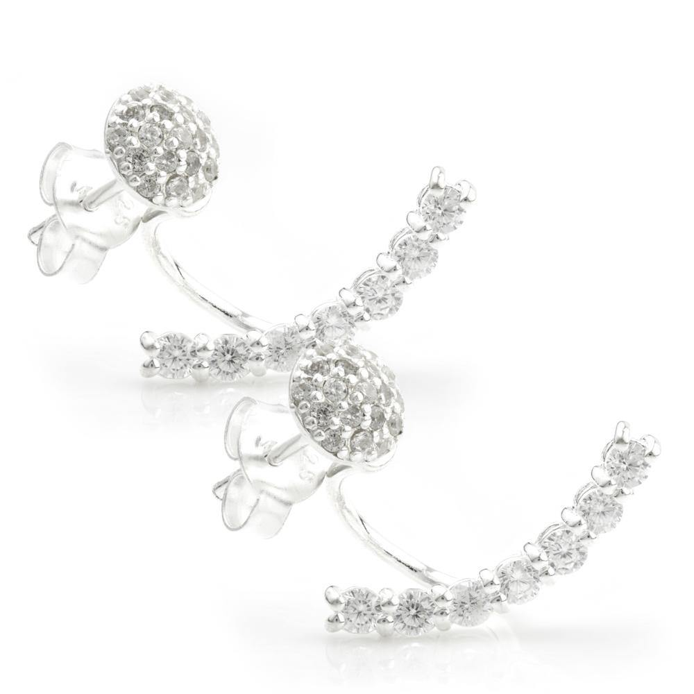 Crystal Pave Ear Studs with Crystal Pave Ear Jacket