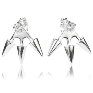 Silver Ear Studs with Triple Spike Jacket