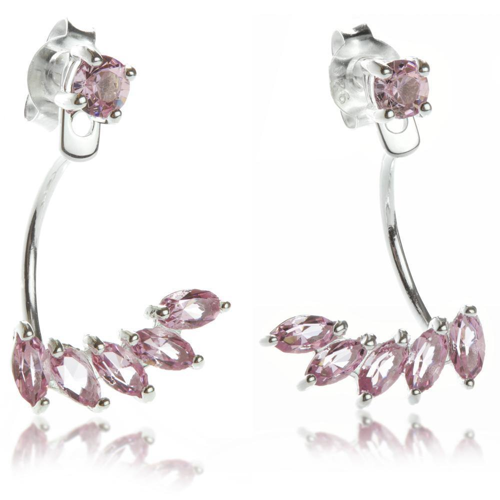 Silver Ear Studs with Pink Crystal Jacket
