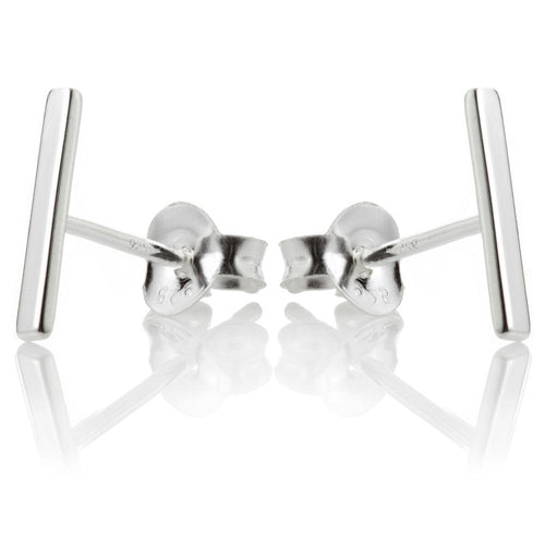 Sterling Silver Small Bar Stud Earrings